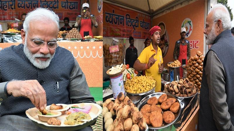 हुनर हाट पहुंचे प्रधानमंत्री मोदी, लिट्टी-चोखा खाया और कुल्हड़ चाय पी